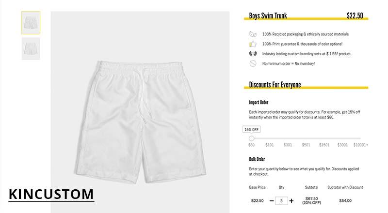 Kincustom print on demand swimming trunks for boys