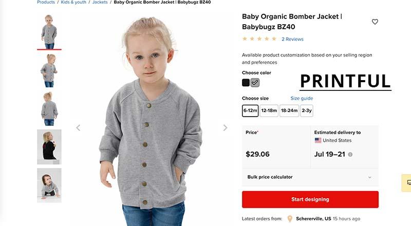 Printful print on demand bomber jacket for baby