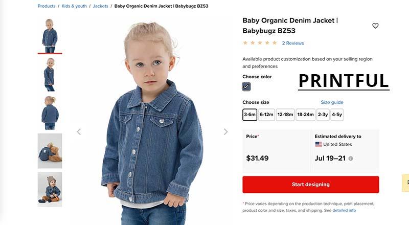 printful print on demand denim jacket for baby