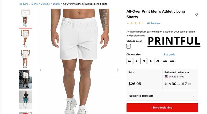 Printful print on demand men's swim shorts