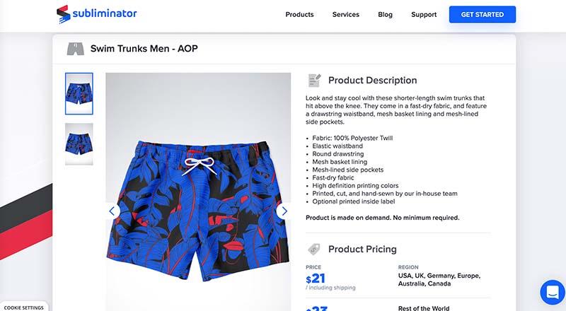 Subliminator print on demand swim trunks for men