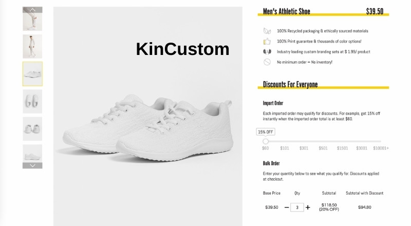 KinCustom print on demand athletic shoe