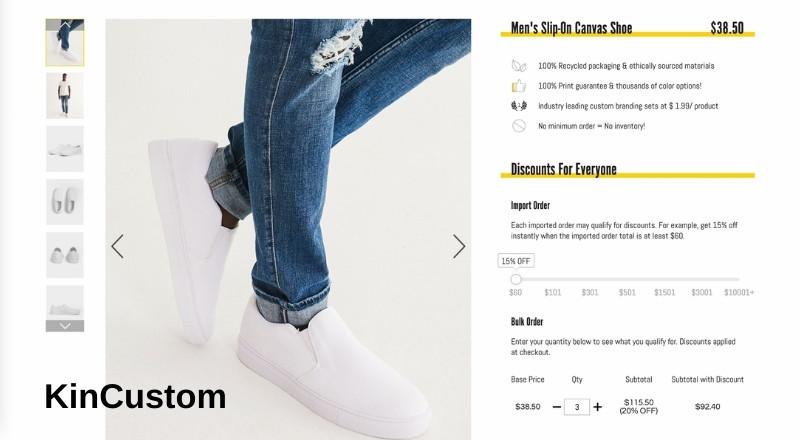 KinCustom print on demand slip-on canvas shoe