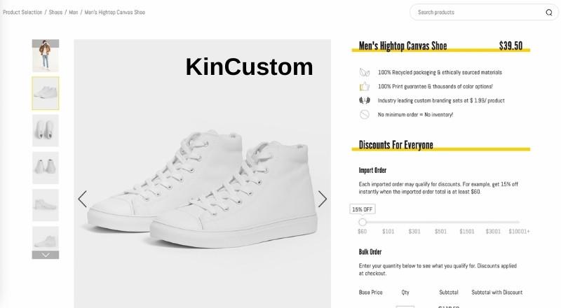 KinCustom print on demand hightop canvas shoes