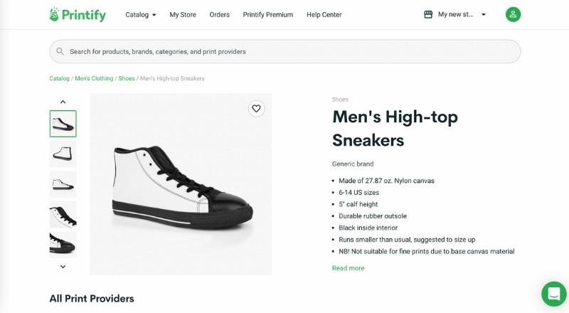 printify high top sneakers