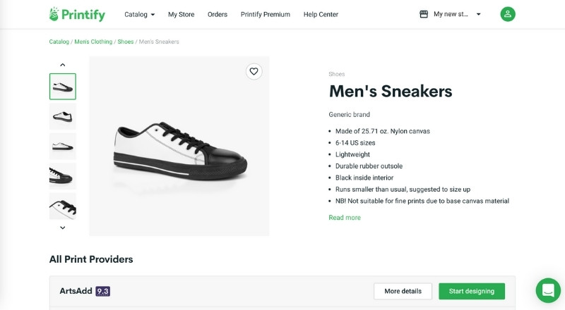 printify print on demand sneakers